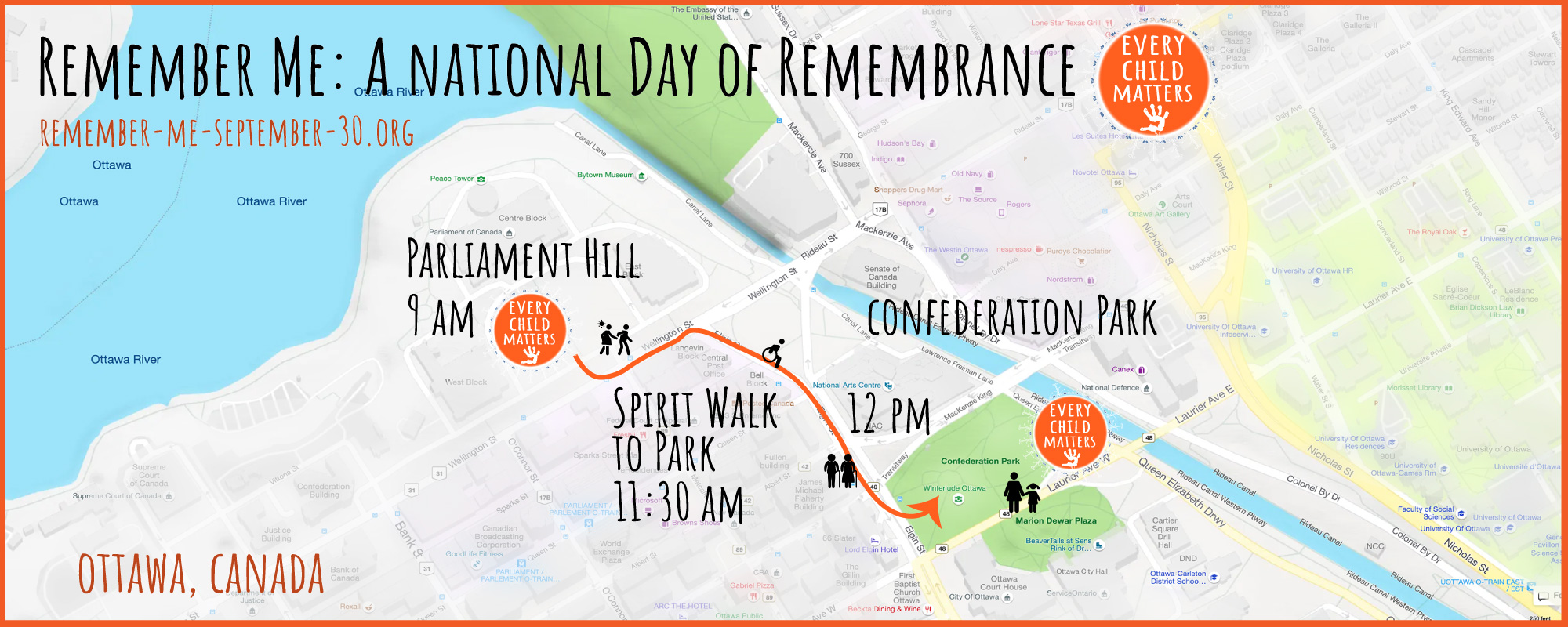 remember me, september 30, orange shirt day, ottawa, pass the feather, indigenous arts collective of canada, residential school, graves, remembrance day, sixties scoop, spirit walk, map