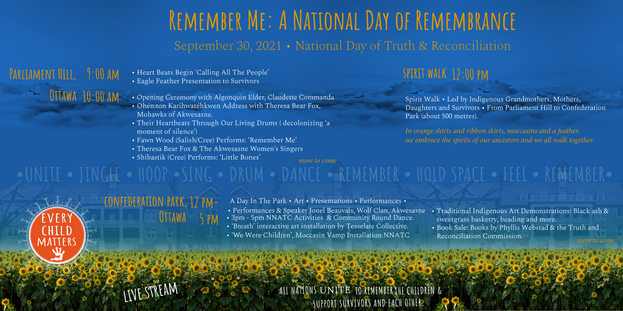 remember me, september 30, orange shirt day, ottawa, pass the feather, indigenous arts collective of canada, residential school, graves, remembrance day, sixties scoop, flag, fundraising, awareness,truth and reconciliation